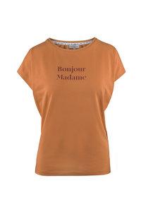 Voorzijde tof basic t-shirt bonjour honing