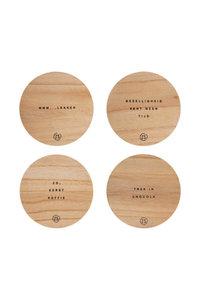 set van 4 onderzetters hout van Zusss