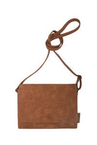 voorzijde van de leuke bruine schoudertas met flap S