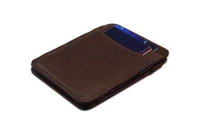 voorzijde van de hunterson magic wallet met bruin