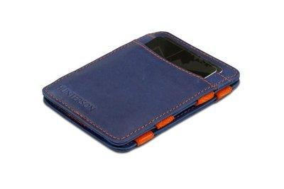 buitenzijde van de magicwallet blauw/oranje van Hunterson